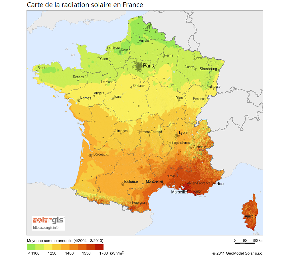 Carte de la radiation solaire en France