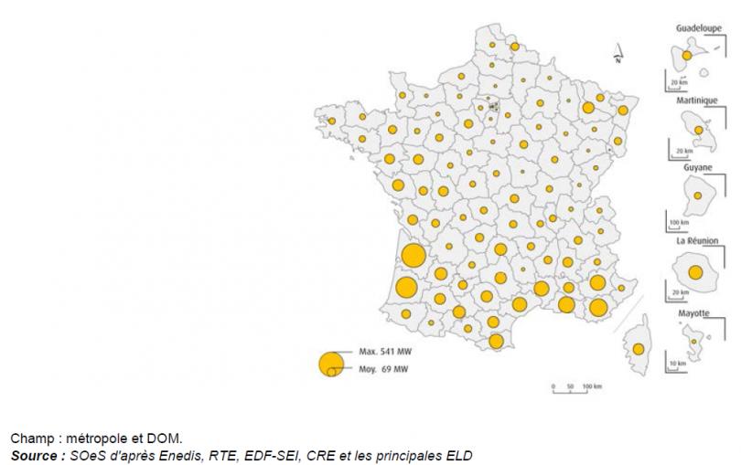 Carte de la répartition installations photovoltaïques par puissance en France