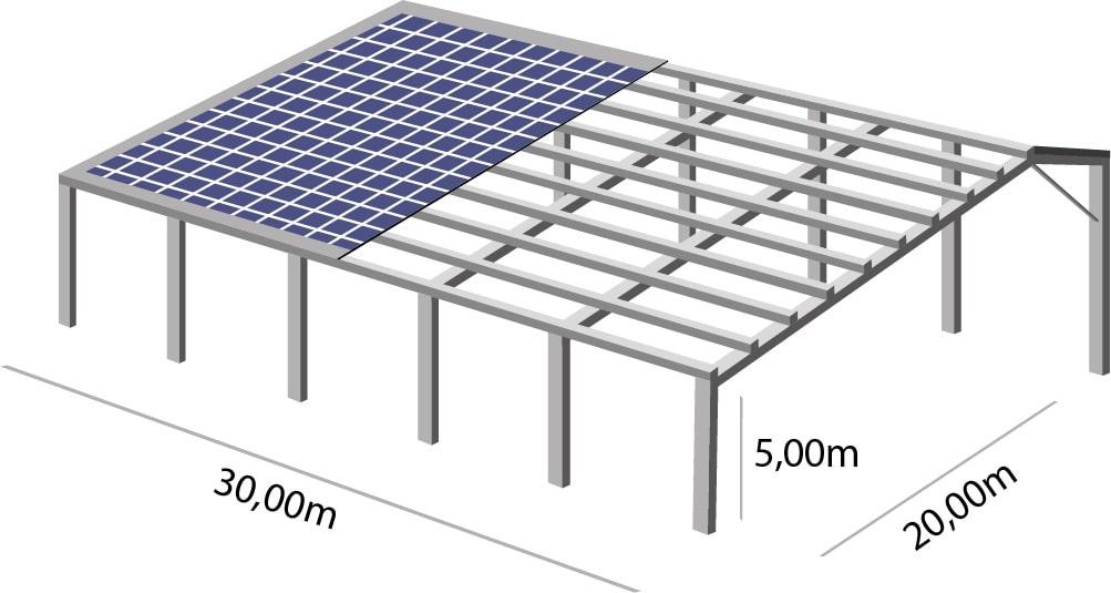 Hangar agricole solaire 100kwc 600m²